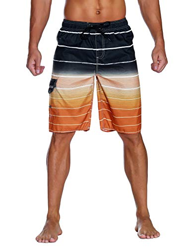a2d6ea46aa3 Unitop Men's Colortful Striped Swim Trunks Long Beach Board Shorts with  Lining Orange-34