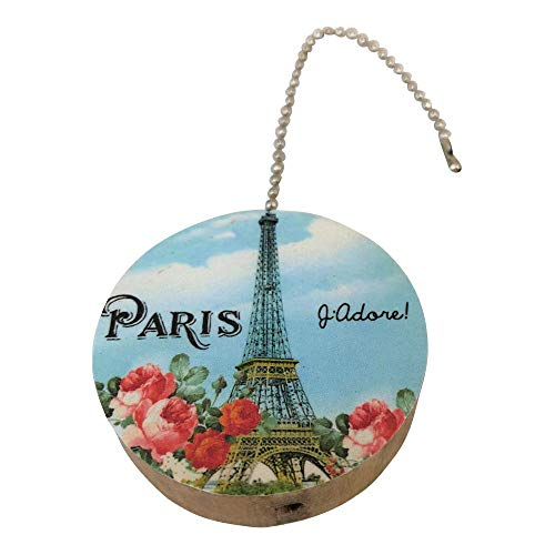 Paris Eiffel Tower Round Wood Fan/Light Pull]()