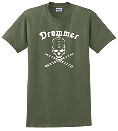 Drummer Skull and Crossbones with Drumsticks T-Shirt Medium Military Green