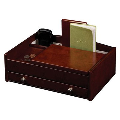 - Mele & Co. Davin Men's Wooden Dresser Top Valet in Dark Burlwood Walnut Finish