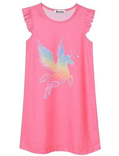 (Girl Nightgown Unicorn Rose Red Nightdress Toddler Sleepwear Nightshirt Cute 3T)