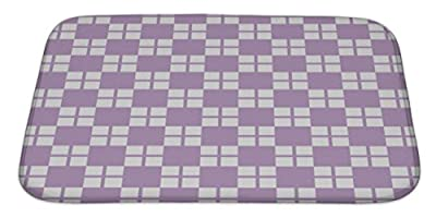 "Gear New No Slip Microfiber Memory Foam Plaid Pattern Bath Rug Mat, 34"" X 21"""