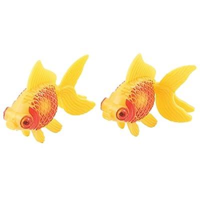 Jardin Plastic Aquarium Decor Faux Fantail Goldfish, 2-Piece, Orange