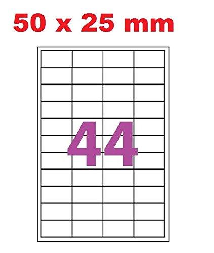 10 A4 hoja 44 etiqueta de papel etiqueta adhesiva 50 x 25 mm ...