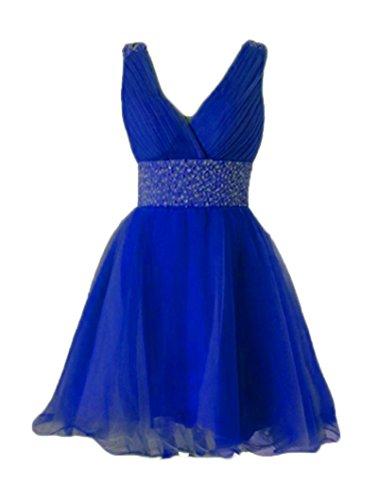 Neck Dresses V Tulle Royal Short DKBridal Bridesmaid Blue Women's Beaded Prom Homecoming Dresses qEZ4X