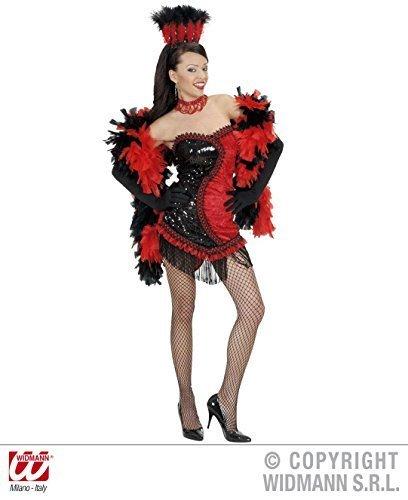 Ladies Black/red Vegas Showgirl Costume Medium Uk 10-12 For 70s Theme