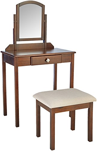 AmazonBasics Vanity Set with Stool - Small, Brown
