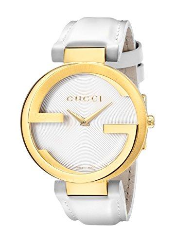Gucci Men's Swiss Quartz Gold-Tone and Leather Dress Watch, Color:White (Model: YA133327)