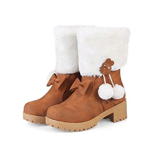 Pom Womens Chunky ABL10449 Poms BalaMasa Heels Urethane Slip Boots Resistant Yellow tqPwd7R