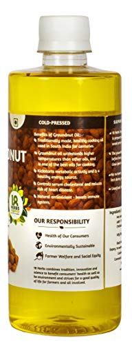 18 Herbs Organics Pure Ground Nut Oil – Cold Pressed, Edible and Excellent for Cooking Pet Bottle, 500 ml