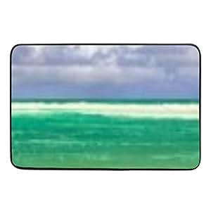 Paraíso Tropical Ocean playa escena palmeras Felpudo interior antideslizante puerta esteras Felpudo con impresión, interior exterior lavable tela no tejida 23.6x15.7(