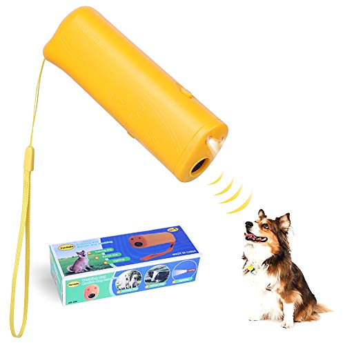 Norbi 3 in 1 Anti Barking Stop-Barking Handheld Dog Repellent Ultrasonic Dog Repeller Dog Trainer Device (Yellow)