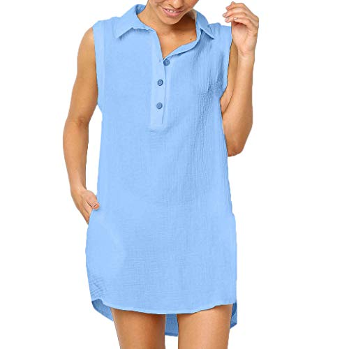 ( Sumeimiya Womens Stand Collar Dress, Summer Buttons Soild Sleeveless Dress Casual Natural Midi Dress with Pockets Blue)