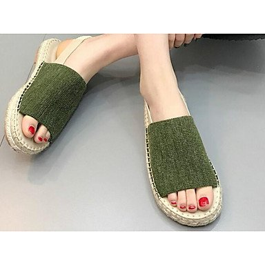 pwne La Mujer Sneakers Confort Casual Primavera Tejido Verde Caqui Plana Negra US8.5 / EU39 / UK6.5 / CN40