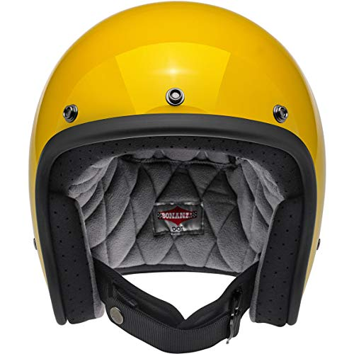 Biltwell Unisex-Adult Open face Bonanza 3/4 Helmet (Safe-T Yellow, Large) (Yellow Motorcycle Helmet)