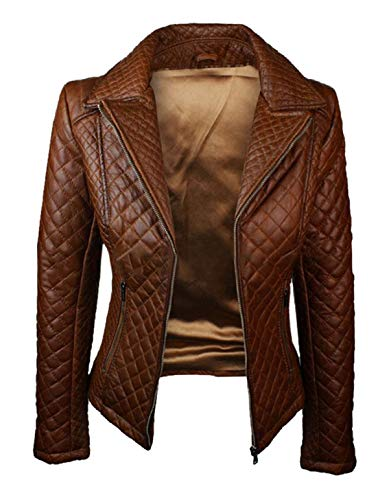 Spazeup New Womens Motorcycle Quilted Brown Biker Leather Jacket