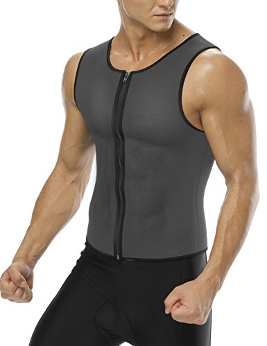 FeelinGirl Men Waist Trainer Vest Hot Sauna Sweat Suits Corset Body Shaper Zipper Tank Top Shirt XL