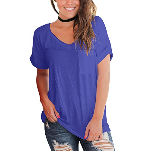 YS.DAMAI Women's Summer Basic Tee Tops Casual Loose Short Sleeve T Shirt With Front Pocket(Blue, M)