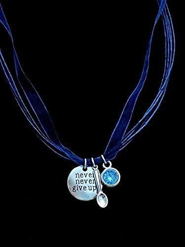Handmade ME CFS Awareness Never Give Up Blue Organza Cord Necklace With Gem Charm