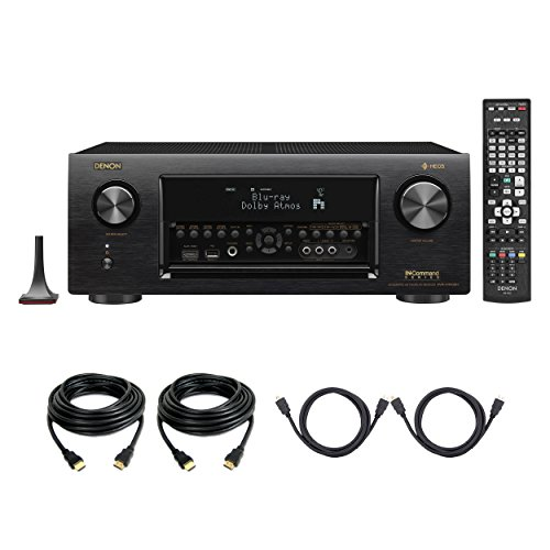 Denon AVR-X4400H Dolby Atmos 9.2 Network Bluetooth WiFi AirPlay 4K Ultra HD In-Command AV Receiver with HEOS Technology with 4 HDMI Cables (Best 9.1 Av Receiver)