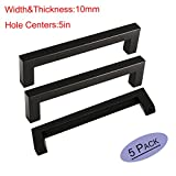 Kitchen Cabinet Handles Flat Black - 10mm Width Stainless Steel 128mm Kitchen Cupboard Drawer Pull Knobs Square Bar By Goldenwarm, Hole Centers 5in 5Pack