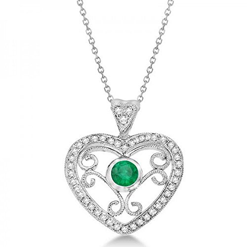 Emerald Filigree Heart Pendant Necklace in 14K White Gold (0.34ct) (Ct Diamond Cut 0.34 Emerald)
