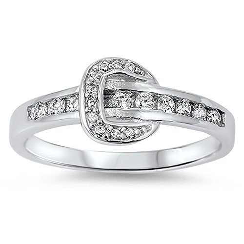 Sterling Silver Diamond Buckle Ring - New Fashion White Cz Belt Buckle .925 Sterling Silver Ring Size 6