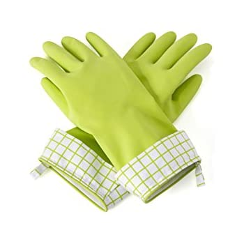 Full Circle Splash Patrol Natural Latex Cleaning and Dish Gloves, Medium/Large, Green, 2 Piece