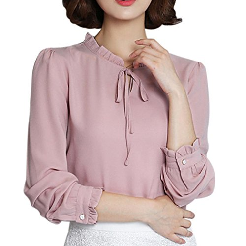 Pervobs Blouses, Big Promotion! Women Casual Long Sleeve Loose Ruffles Solid Chiffon Bow Tie T-Shirt Casual Tops Blouse