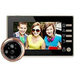 BW 4.3 inch Night Vision LCD Color Digital Door Viewer Voice Intercom Recordable Peephole Doorbell Home Security Camera