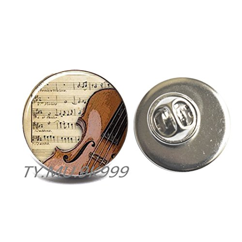 Yao0dianxku Violin Brooch, Charming violin jewelry, violin Pin, fiddle Brooch, handmade jewelry,music notes Pin, fiddle Pin.Y033 (This Is Halloween Violin Notes)