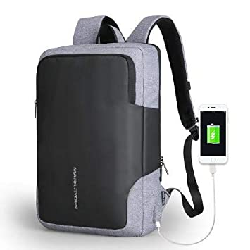"""Mark Ryden Nox Series Water-Resistant 15.6"""" Laptop Backpack with USB Charging Port (Grey)"""