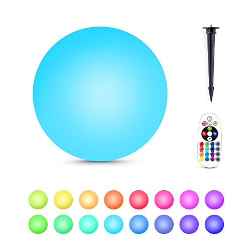 Alwoa LED Ball Light, Floating Pool Light, 16 Color Changing, IP68 Waterproof, Rechargeable Moon Lamp Perfect for Home, Garden, Party (8inch-Sphere, 1 Pack) ()
