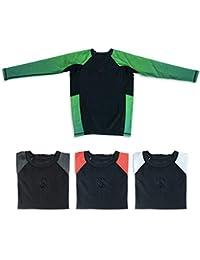 Sanabul Kids Essentials Long Sleeve Compression Training Rash Guard for MMA BJJ Wrestling (Green, XL)