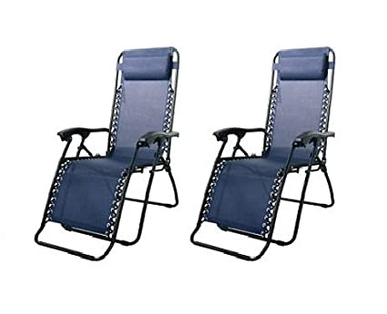 Incroyable Caravan Canopy Blue Steel Frame Zero Gravity Chairs 80009000022 (Pack Of  Two)
