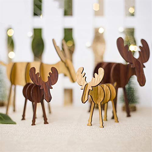 - MyRalice Christmas Wooden Crafts Laser Engraving Christmas elk Wood Chips Home Christmas Tree Decoration Ornaments Small Ornaments