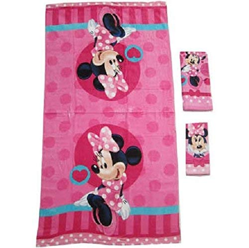 3 Pieces Disney Pixar 100% Cotton Bath, Hand, and Fingertip Towel Sets (Minnie Mouse) (Kids Bathroom Sets Minnie Mouse)