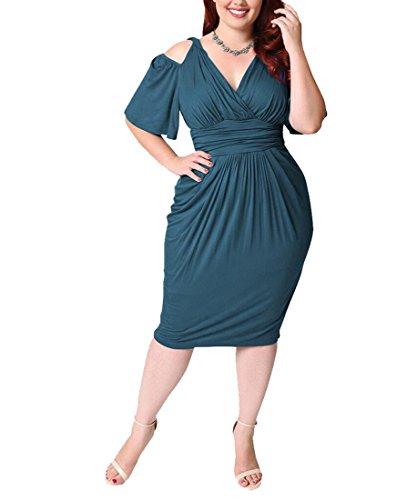 Lake Pleated Plus Size Ruffle Blue Cold Women Jaycargogo Dress Sleeve Shoulder B0tzq