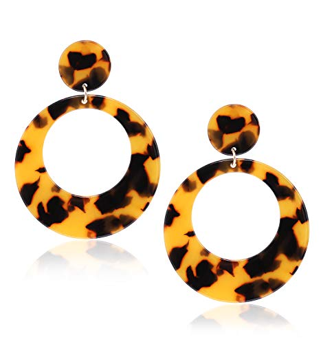 - MOLOCH Acrylic for Women Geometry Resin Drop Dangle Earrings Bohemia Tortoise Shell Hoop Earrings Mottled Statement Stud Earrings Fashion Jewelry (Tortoiseshell)