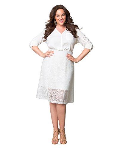 Kiyonna Women's Plus Size Muse Lace Midi Skirt 3X Soft Pearl