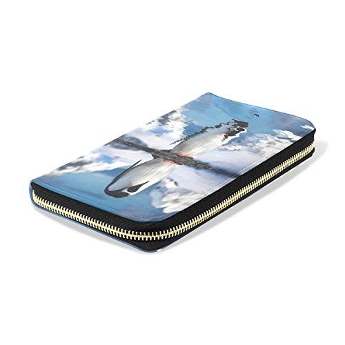 Penguins Blue6 Leather Purse pu Long Clutch Passport Handbag ALAZA Wallet Zipper Leather dA7ngHdx