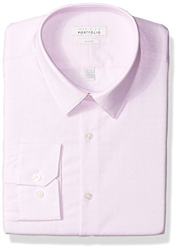 Perry Ellis Men's Slim Fit Performance Dobby Dress Shirt, Light Pink, 18 34/35 (Cotton Dobby Dress Shirt)