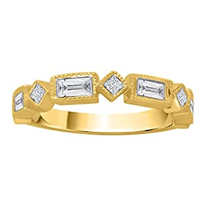 Round and Baguette Cut Diamond Wedding Band in 10K Yellow Gold (5/8 cttw, GH Color, I1 Clarity)