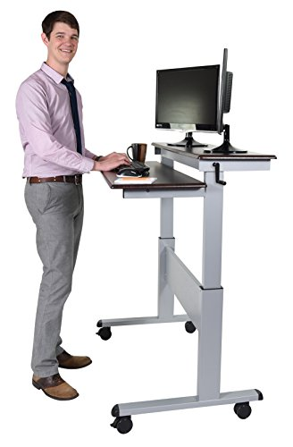 Stand Up Desk Store 48-Inch Crank Adjustable Height Stand Up Desk with Steel Frame, Dark Walnut Shelves / Silver Frame Dark Walnut Shelves / Silver Frame