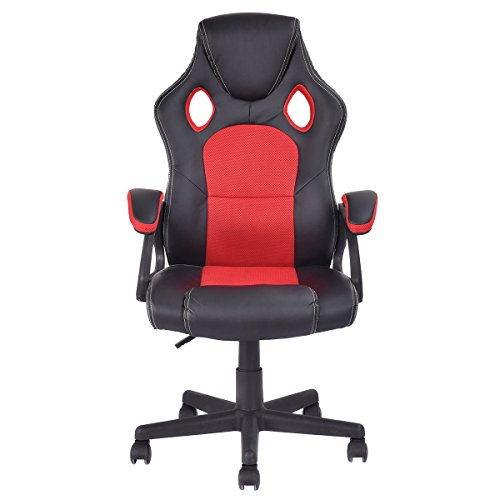bucket seat racing style office chair computer desk task red black