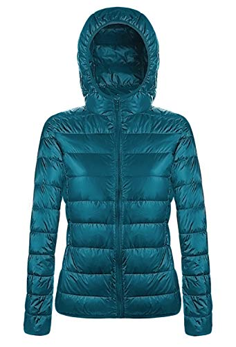 Hooded Nylon Shorts - Aixy Ladies Winter Down Jackets and Coats Short Hooded Outwear for Women,Blue,M