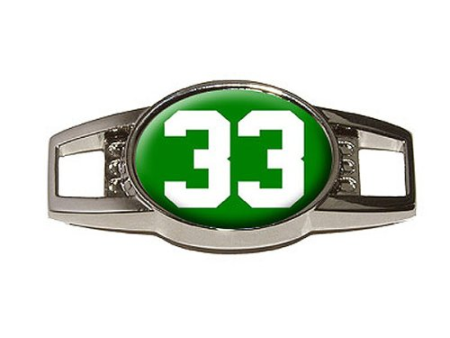 Number 33 on Green - Shoe Sneaker Shoelace Charm Decoration