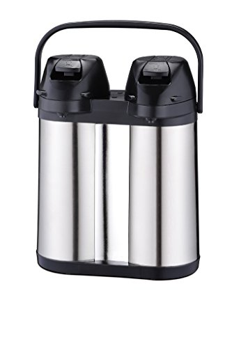 Coox 4L Double Air Pot Thermal Beverage Dispenser for Hot & Cold Drinks - Convenient Unbreakable Dual Capacity Stainless Steel Design (Glass Lined Pump Pot compare prices)