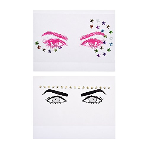 Kloud City Pack of 2 Bindi Rave Glitter Temporary Face Head Stickers Body Tattoo In Random