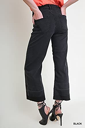 Umgee Womens Mid Rise Five Pocket Black Wide Leg Cropped Culotte Stretch Jeans with Raw Unfinished Hem